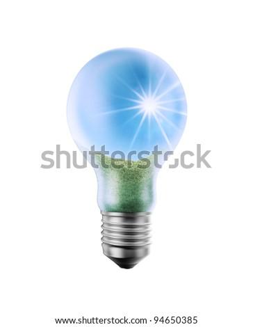 A bright sunny landscape inside a lightbulb