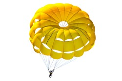 A bright yellow parachute on white background, isolated.