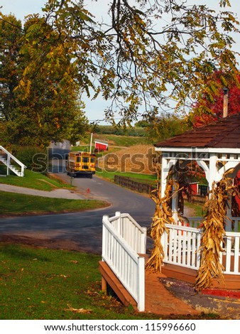 A bright yellow school bus drives along a winding country road on an autumn afternoon.