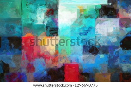 A brightly colored abstract expressionist digital painting with cool and warm colors and geometric shapes