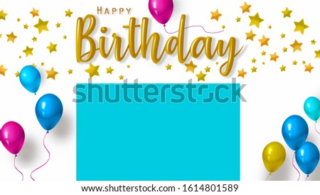 "A brilliant greeting card with the inscription ""Happy Birthday"". Postcard design for your greetings text."