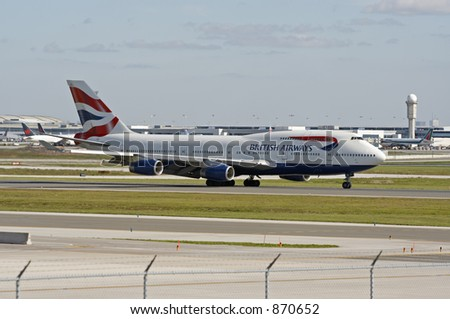 A British Airways 747 on a runway at Toronto Pearson International Airport.