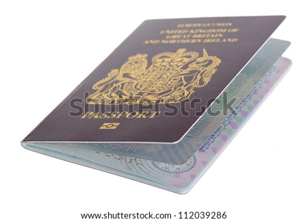 a british chipped passport isolated on white background