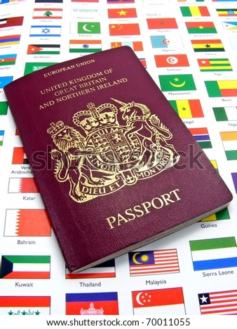 A British passport lying on a page of country flags