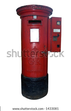 A British, Royal Mail postbox, with a stamp machine, isolated on white. Space for text on the white panel at the front of the box.