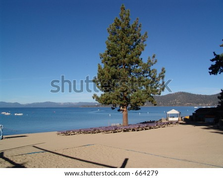 A Broad Beach on Lake Tahoe in the morning