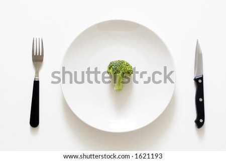 A broccoli on a plate, can be used for health theme