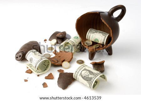 a broken and empty clay piggy money box with money over white background