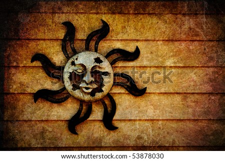 A broken, decaying pagan sun symbol with artistic, grunge style texture added and room for your text or images.