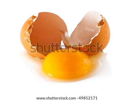 A broken egg in a white background