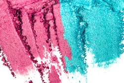 A broken purple and blue eye shadow make up smear palette isolated on a white background. Top view, flat lay.