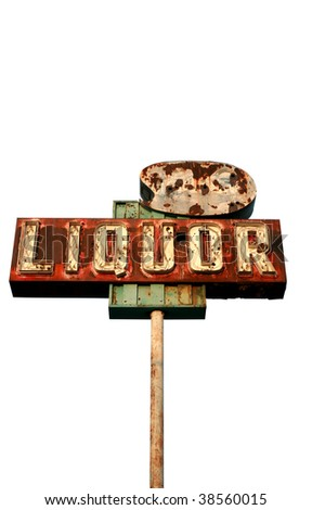 "a broken yet beautiful old rusty ""liquor store"" neon sign ""isolated on white"""