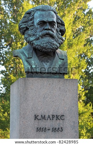 A bronze sculpture by Karl Marx in St. Petersburg, Russia. The monument was established in 1932