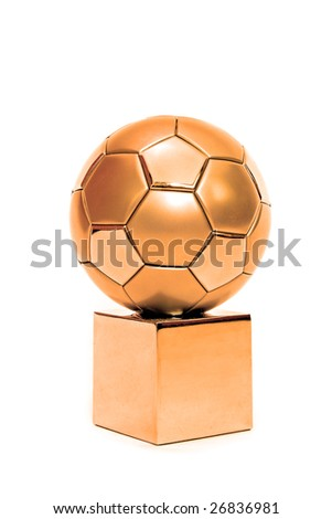 A bronze soccer trophy. All on white background.