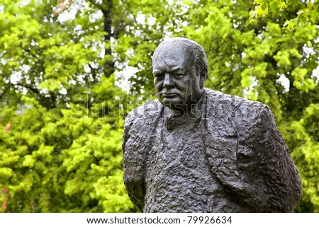 A  bronze statue of Winston Churchill, weighing 1.5 tons and standing ten feet high, is found in Halifax, Nova Scotia, Canada. - stock photo