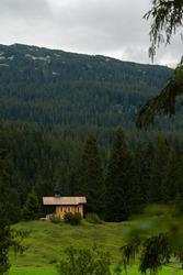 A Brother Klaus chapel in Hirschegg Austria. Auistrian Alps.