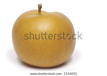 A brown apple isolated on a white background.
