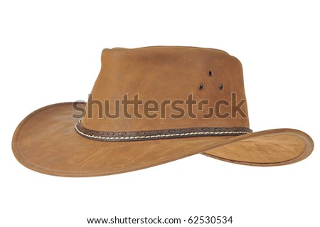 A brown cowboy hat on white background. - stock photo