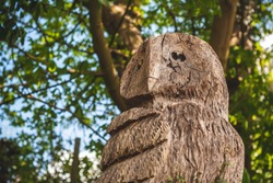 A brown detailed wooden owl carving, in a green woodland with out of focus trees sky and sunlight. photographed close up and shot from below. Owl looking into the distance.