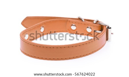 A brown dog collar isolated on a white background #567624022