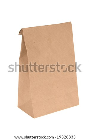 A brown, folded-top paper lunch bag isolated on white.