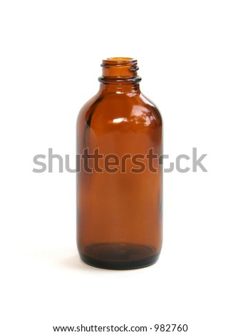A brown homeopathic medicine bottle.