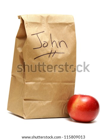 A brown lunch bags prepared specially for John.