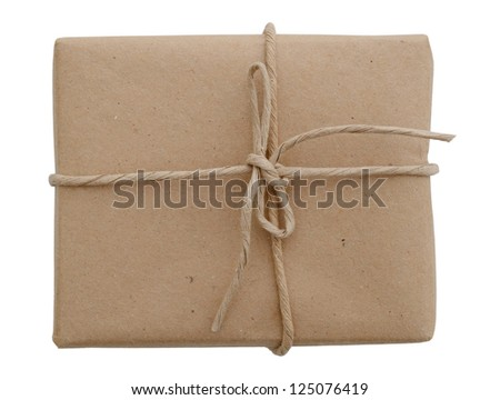 A brown parcel isolated white