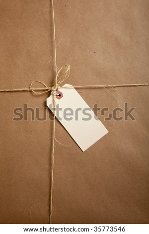A brown shipping box tied with twine or string with a blank shipping label with copy space