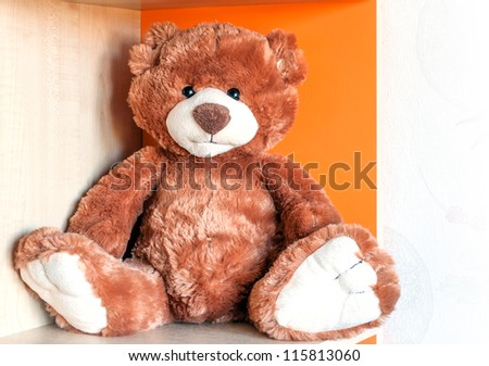 A brown teddy bear in the child's room