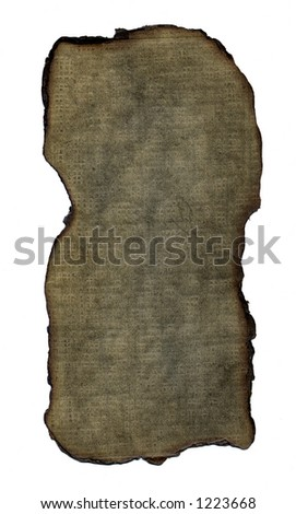 A brown textured background with wood pulp detail and a burned edge.