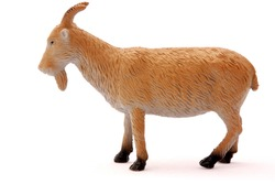 A brownish goat plastic toy for kids isolated on white background