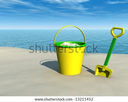 A bucket and a spade on a sandy beach with the ocean in the  background on a sunny day.