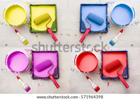 a bucket of paint of different colors and paint tray poured into it from inside the roller and brushes for painting the walls, on a beige background kraft paper collage
