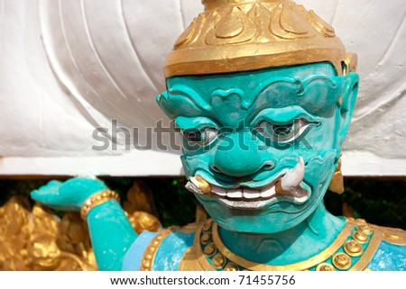 A Buddhist Statue at the Tiger Temple in Thailand Krabi Province