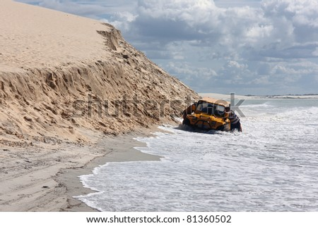 A buggy stuck on a beach in northeast Brazil