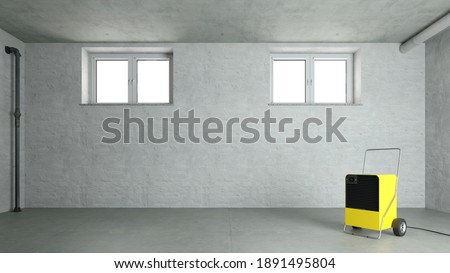 A building dryer or dehumidifier is placed in a damp basement to dry the air (3d rendering) ストックフォト ©