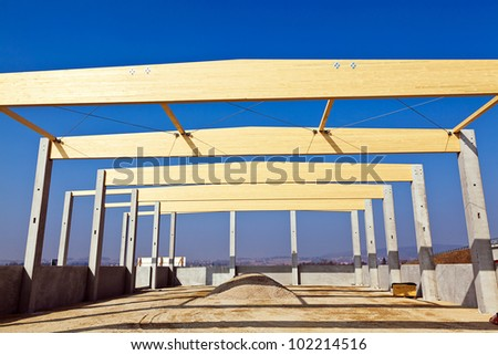 a building for warehouse and production will be built. commercial construction site.