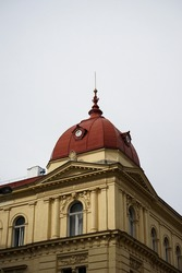 A building with a red turret, Prague Czech Republic
