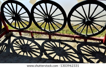 A bullock cart wheeled used in transportation used since ancients times in many parts of the world.