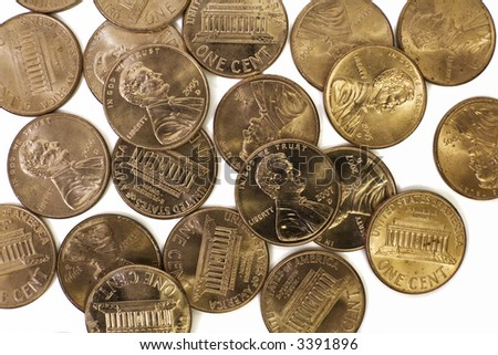 A bunch of American pennies on a white background - stock photo