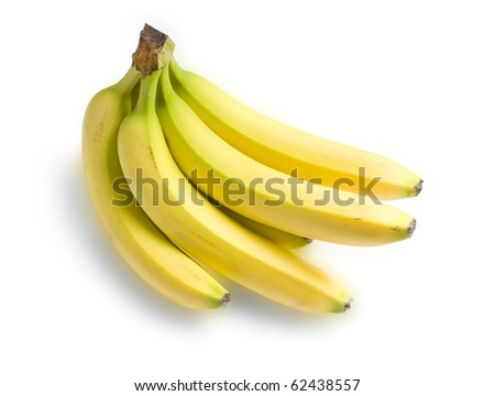 A bunch of bananas isolated on white background, clipping path included