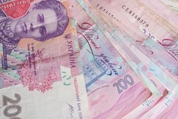 A bunch of banknotes with a face value of two hundred hryvnias. Ukrainian money.