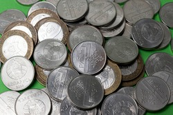 A bunch of Belarusian coins. The concept of money, currency. Savings.