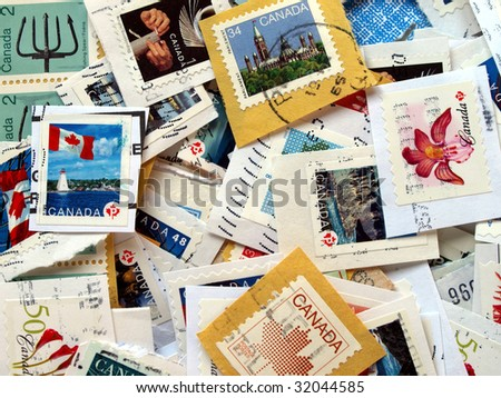 a bunch of Canadian postage stamps from Canada