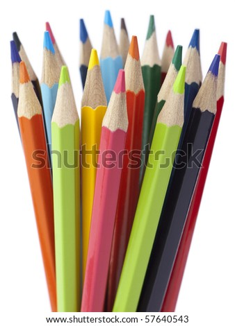 A bunch of color pencils pointing up.