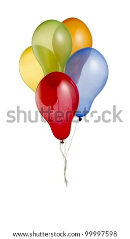 a bunch of colorful helium balloons isolated on white with clipping path 3