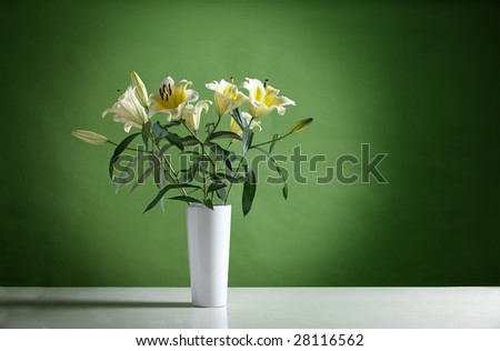 a bunch of flowers ,Perfume lily .with rgreen background