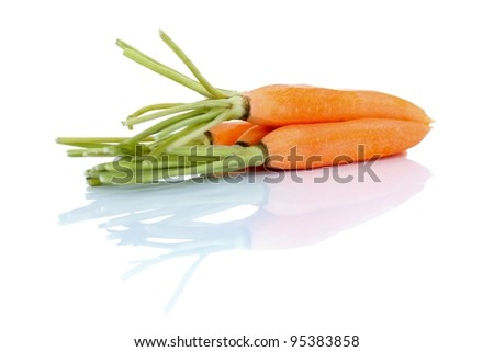 A bunch of fresh carrots on white, diet concept - stock photo