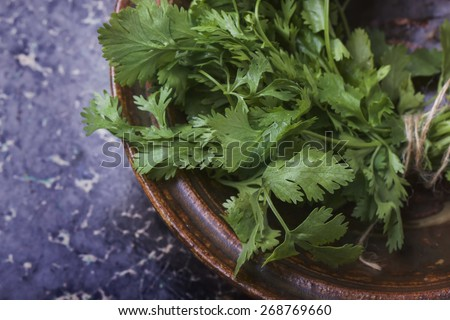 A bunch of fresh green coriander leaves in the vintage ceramic bowl, top view